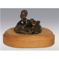"""Gary Schildt, bronze, 1957, 3 1/2"""" x 4 1/2"""" x 3 1/2"""", Eric"""