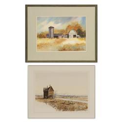 Les Barnett watercolor and Marlene Marczewski watercolor