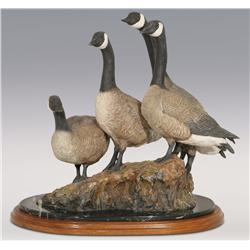 "Joe Halko, bronze, 15"" x 16"" x 10"", Gaggle of Four Walking Canadian Geese"