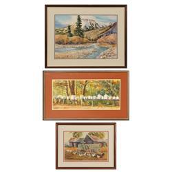 Bill McCusker, three watercolors