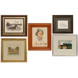5 pieces of art by Newman Myrah, E.L. Wertz, Betty Gates, Phleat Boyd and D.G. Christensen