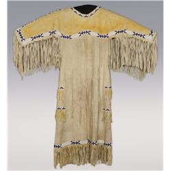 Cheyenne Woman's Dress, sinew sewn, C. 1890, excellent condition