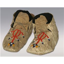 Northern Plains Indian Beaded Moccasins, 19th century