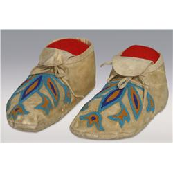 Blackfoot Man's Beaded Moccasins, C. 1870s, excellent condition