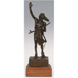 """Charles M. Russell, Bronze, 13"""" x 4"""" x 3 1/2"""", Peace"""