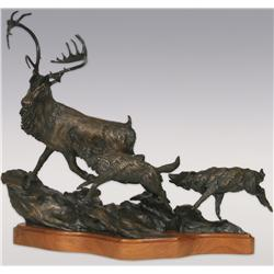 "Daniel Ostermiller, bronze,1978, 21"" x 24"" x 7"", The Last Winter"