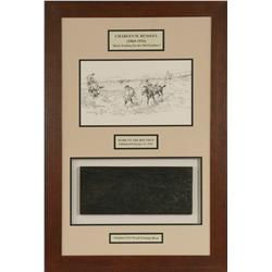 Charles M. Russell, framed print and original woodblock, 1923
