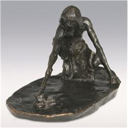 "Charles M. Russell, bronze, 4"" x 4"" x 8"", The Snake Priest, Zoppo Foundry"