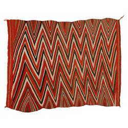 "Navajo Wearing Blanket, 76"" x 58"", wedge weave, C. 1880, excellent"