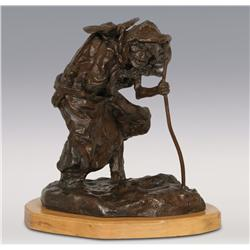 "Gary Schildt, bronze, 9"" x 8"" x 7"",Old Man Winter"