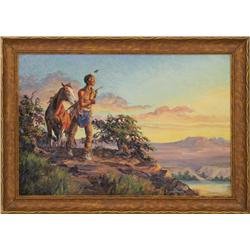 "Irvin ""Shorty"" Shope, oil on board. Cowboy Artists of America."