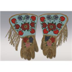 Plateau Indian Beaded Gauntlets, C. 1900, excellent condition