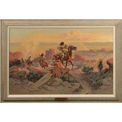 John Hampton, oil on canvas. Cowboy Artists of America.