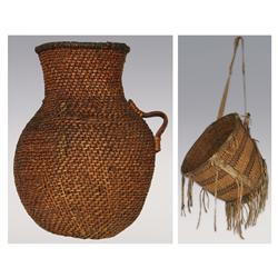 "Pair of Apache Baskets,  Burden Basket, 14"" and Apache Tus, 11"", both 19th century"