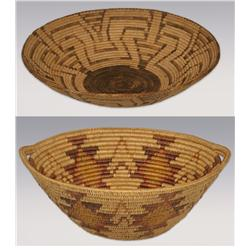 Pair of Baskets, Pima Tray-1930s and Jicarilla Apache Tray -mid 20th century