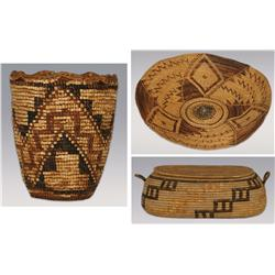 3 baskets: Mission Basket, California Twined Basket and Klickitat Imbricated Basket