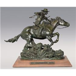 "Robert Scriver, bronze, 1979, The Winchester Rider, 18"" x 21""x 11"". Cowboy Artists of America."