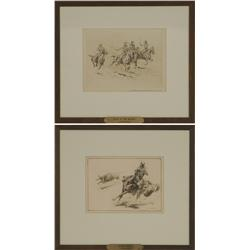 Pair of Edward Borein etchings featured in The Etchings of Edward Borein
