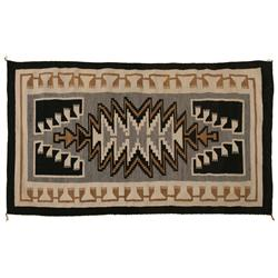 "Navajo Textile, Two Grey Hills, 58"" x 34"", C. 1940s, excellent condition"