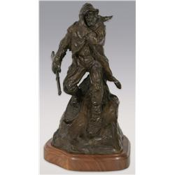 "Robert Scriver, bronze, 14"" x 9""x 7 1/2"", 1977, On the Trap Line. Cowboy Artists of America."