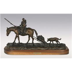 Robert Scriver, bronze, 1995, 15  x 25  x 11 , New Camp. Cowboy Artists of America.