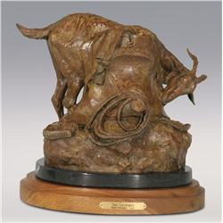 "Herb Mignery, bronze, 1992, 10 1/2"" x 10 1/2"" x 9 1/2"", The Gourmet. Cowboy Artists of America."
