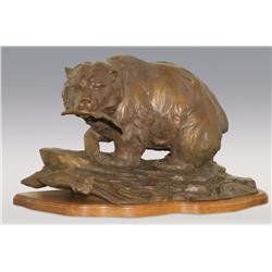 Sandy Scott, bronze, 19  x 35  x 21 , Chum Run at Irish Creek