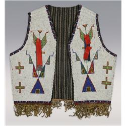 Lakota Man's Beaded Vest, Solid beads on buffalo hide, C. 1880