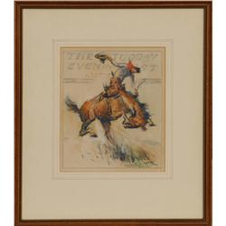 W.H.D. Koerner, watercolor, Sketch for Saturday Evening Post Cover