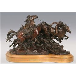 "Ken Payne, bronze, 1991, 19 1/2"" x 30"" x 15"", Birth of a Warrior"