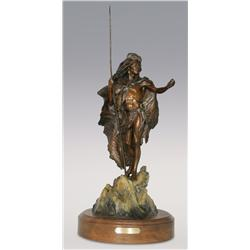 "Dan Garrett, Bronze, 26"" x 13"", Beckoning the Ancient Vision"