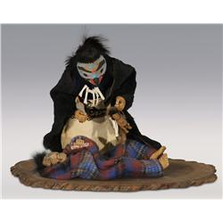 Shona Hah carved doll diorama depicting Medicine Man