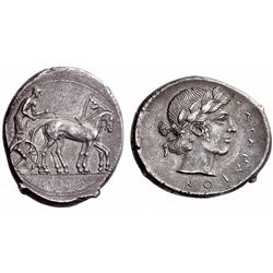 Greek coins. Catana. Tetradrachm ca 450-445, AR 16.90g.