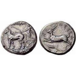 Greek coins. Zankle-Messana. Tetradrachm ca 420-413, AR 17.40g.