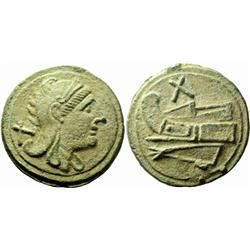 Roman Rep. Decussis or denarius ca 215, Æ 1075g.