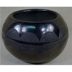 BLACK ON BLACK PUEBLO INDIAN POTTERY - Approx. 4""
