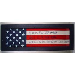 LARGE FRAMED AMERICAN FLAG INSPIRED FOLK ART DISPL
