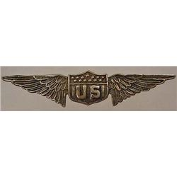 RARE C. 1920'S STERLING SILVER US PILOT'S BADGE -