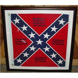 LARGE FRAMED CCONFEDERATE FLAG W/ BATTLE HONORS -