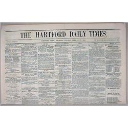 2-3-1859 HARTFORD DAILY TIMES NEWSPAPER - Incl. de