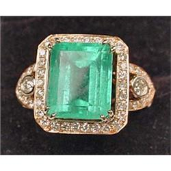 14K ROSE GOLD LADIES DIAMOND AND EMERALD RING - Co