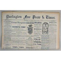 4-14-1879 BURLINGTON FREE PRESS AND TIMES NEWSPAPE