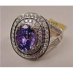 14K WHITE GOLD LADIES TANZANITE AND DIAMOND RING -