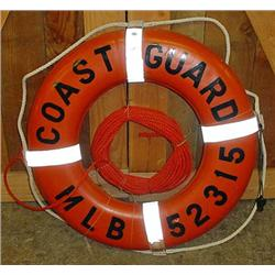 COAST GUARD LIFE RING W/ ATTACHED LINE AND WHISTLE