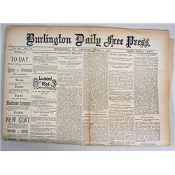 4-9-1887 BURLINGTON DAILY FREE PRESS NEWSPAPER - I