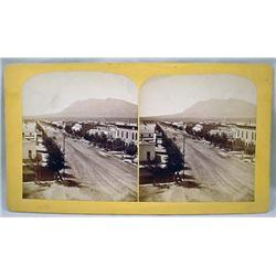 ANTIQUE PHOTO STEREOVIEW CARD OF TEJON ST. IN COLO