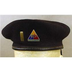 U.S. MILITARY BLACK BERET - With D.I. and II Lieut