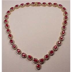 14K GOLD LADIES RUBY AND DIAMOND NECKLACE - Comes