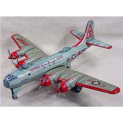 C. 1950'S TIN LITHO USAF FRICTION AIRPLANE TOY - M