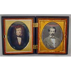 2 ANTIQUE DAGUEROTYPE PHOTOS IN CASE - INCL. CIVIL